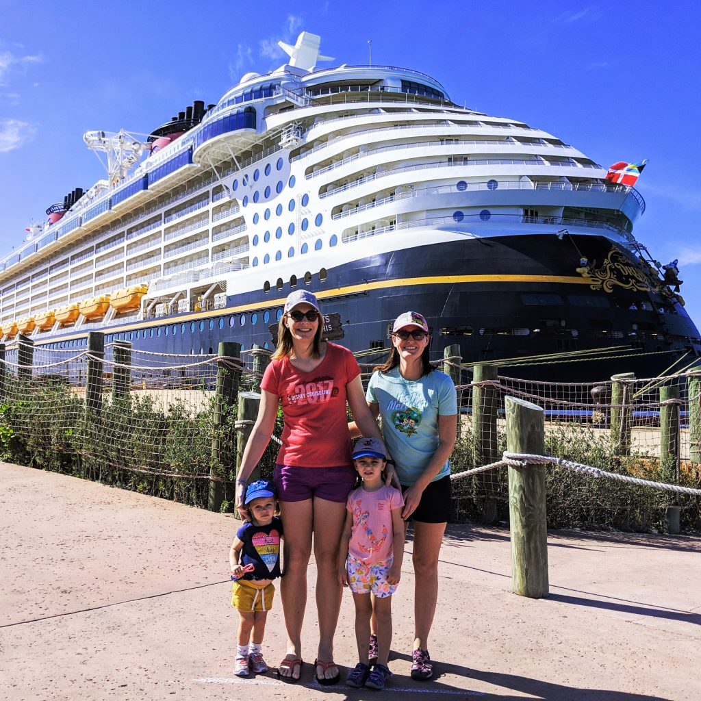 our family with a cruise ship
