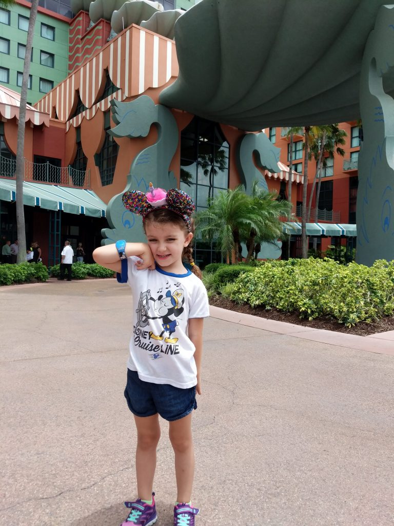 Our oldest daughter in front of the Disney Swan hotel.